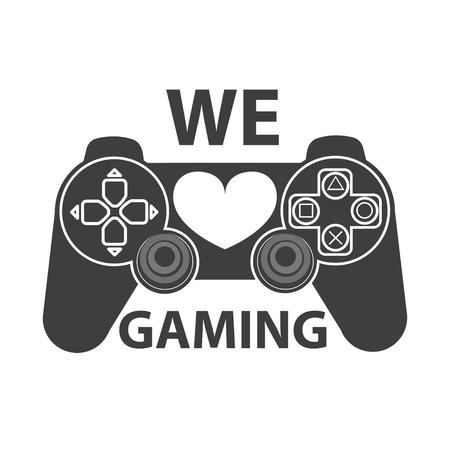 Video-Gaming-Symbol. Wir lieben Spiele. Spielkonsole-Symbol. Design-Element für Logo, Etikett, Emblem, Abzeichen. Vector Design-Element.