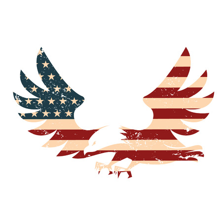 American Eagle with USA flag background. Illustration of abstract American background. Design element in vector.