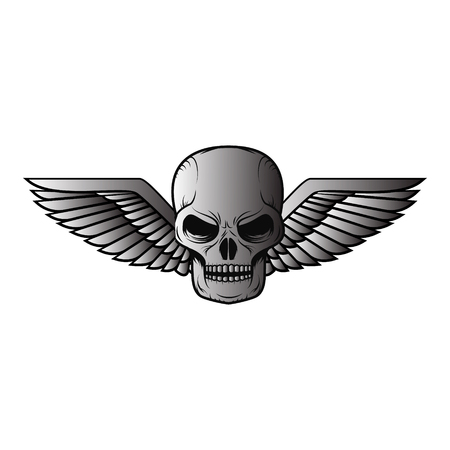 rogue: Metal skull with wings. Design element in vector.