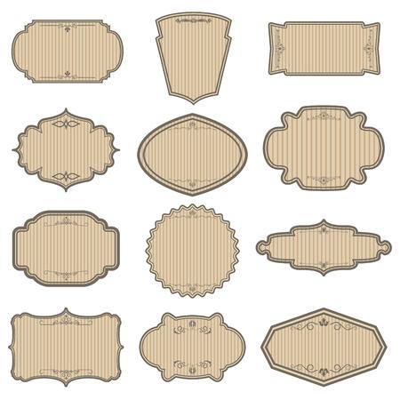 Set of vintage striped frames. Vektorové ilustrace