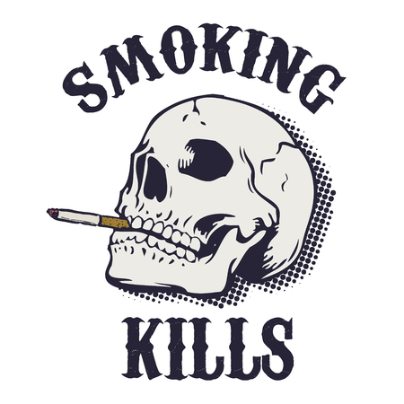 Smoking kills. Human skull with cigarette isolated on white background. Design element in vector.