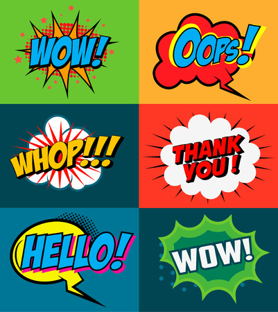 asterisks: Set of comic style phrases on colorful background. Pop art style phrases set. Wow! Oops! Whop!  Design element for poster, flyer. Vector design element. Illustration