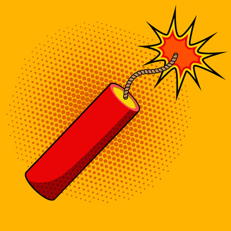 Comic style dynamite on colorful background. Cartoon style dynamite stick. Design element in vector for logo, label, flyer, poster.