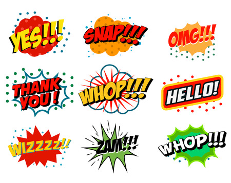 Set of comic style phrases isolated on white background. Pop art style phrases set.