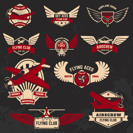 Set of flying club labels and emblems on grunge background. Design elements for logo, label, badge, emblem, sign.