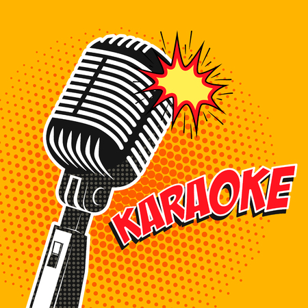 Karaoke poster in pop art style. Design element in vector. Ilustrace