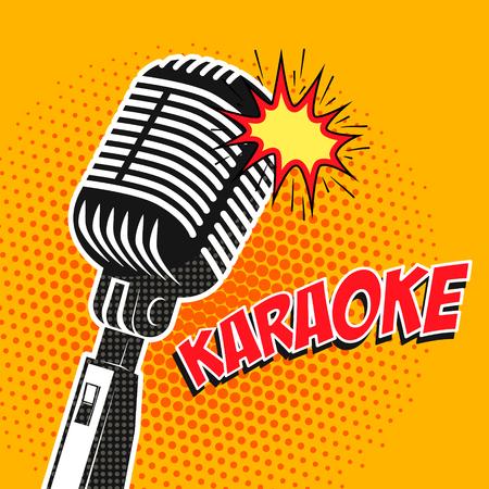 Karaoke poster in pop art style. Design element in vector. Illustration