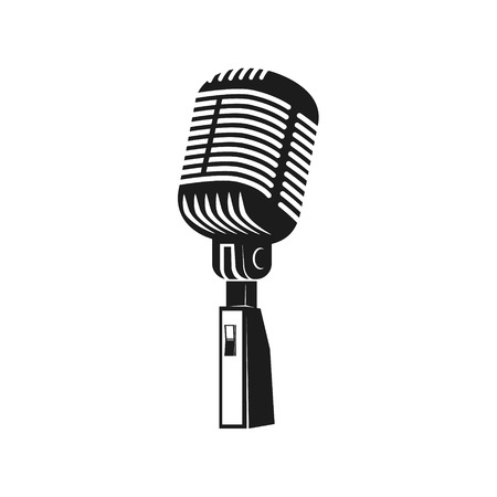 Microphone monochrome icon. Element for logo, label, emblem, badge, sign.  Design element in vector.