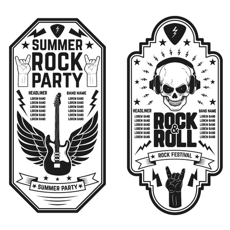 heavy: Rock and roll concert flyer templates. Summer rock and roll party. Design element for flyer, poster, emblem. Illustration