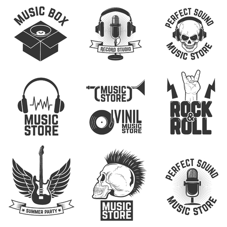 record studio: Set of music store labels. Record studio. Summer party.  Design element for poster, flyer, emblem, sign. Vector design elements.