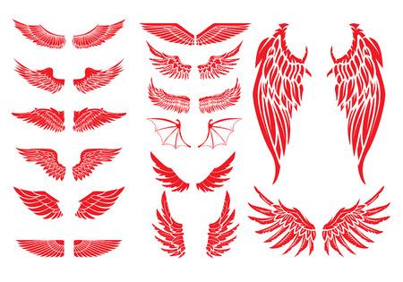 Grote reeks van vector vleugels op een witte achtergrond. Design elementen voor label, kenteken, teken. Vintage vector element.