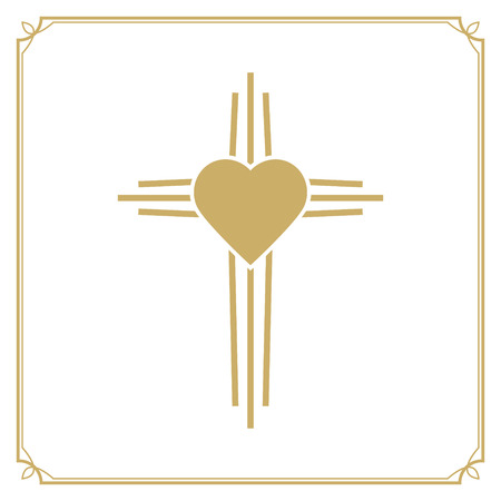 baptist: God is love. Cross with the heart shape. Design element in vector. Illustration