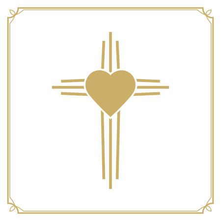 baptist: God is love. Cross with the heart shape. Design element in vector. Illustration