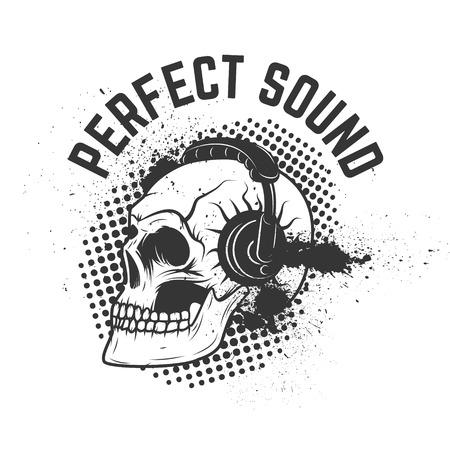 sonido perfecto. Cráneo con auriculares en el fondo del grunge. elemento de diseño para el cartel, folleto, emblema, muestra. Elemento de diseño vectorial.