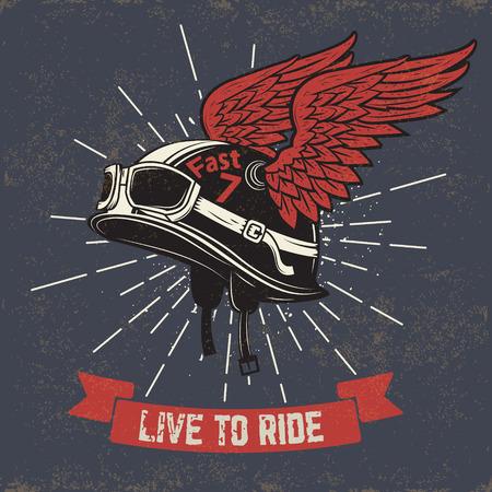 乗るに住んでいます。 グランジ背景に翼を持つオートバイのヘルメット。
