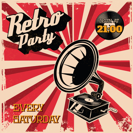 retro party: Retro party vintage poster template. Illustration