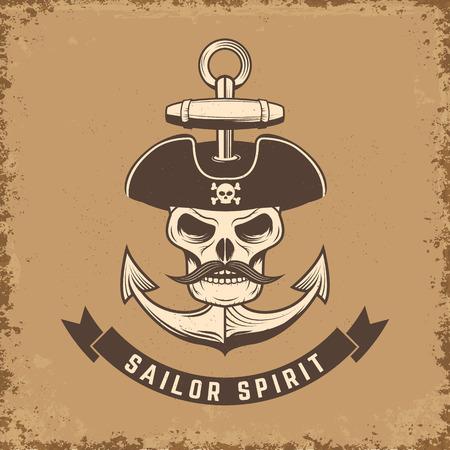 sea robber: Sailor spirit. Skull with anchor on grunge background. Vector illustration.