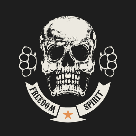 knuckle: Freedom spirit. Skull in grunge style and two brass knuckle. Illustration