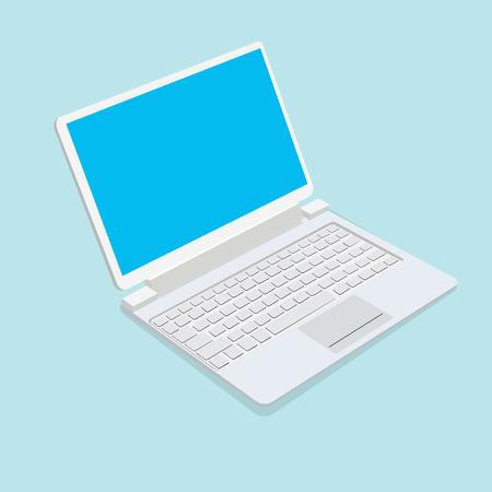 key pad: Notebook isolated on blue background. Illustration