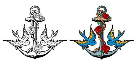 Zeeman geest. Anker met rozen en vogels op grunge achtergrond. Old school tattoo stijl anker. illustratie.