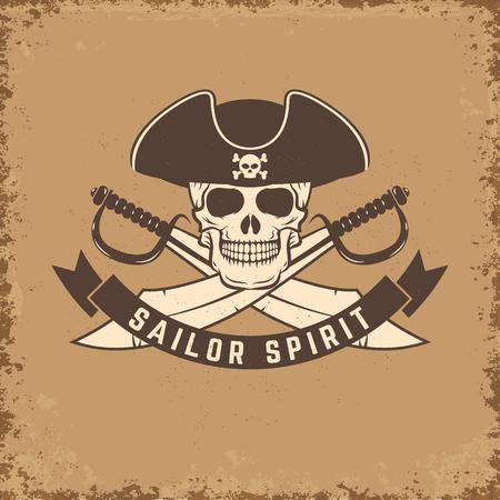 sea robber: Sailor spirit. Skull with anchor on grunge background. illustration.