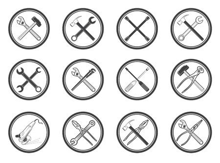 nipper: Set of equipment icons set. labels with tools. Design elements for , label, emblem, sign, badge. illustration. Illustration