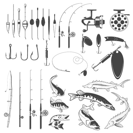fisheries: Set of fishing tools, river fish icons, equipment for fishing. Design element for , label, emblem, sign, badge. illustration.