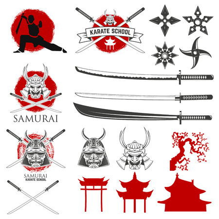 sword fight: Set of karate school labels, emblems and design elements. Katana sword fight school.  illustration.