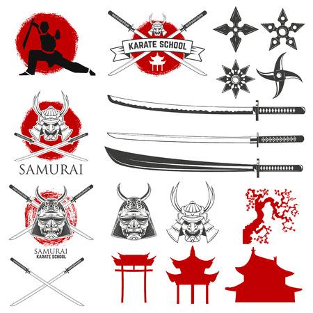 katana: Set of karate school labels, emblems and design elements. Katana sword fight school.  illustration.