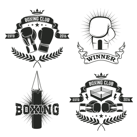 boxing knockout: Set of the boxing club labels and badges.