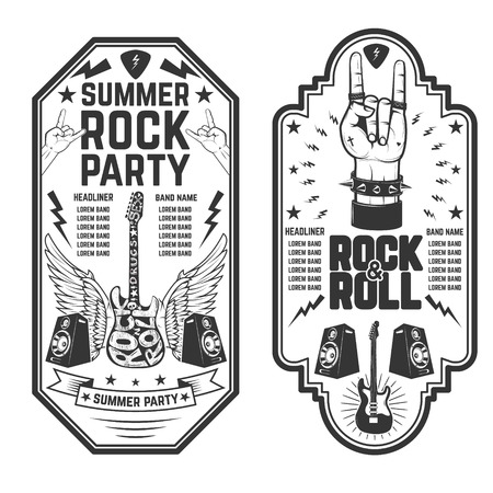 heavy: Rock and roll party flyer template. Vector illustration Illustration