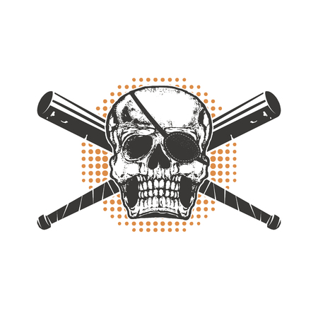 death cap: Skull with two crossed baseball-bat on grunge background