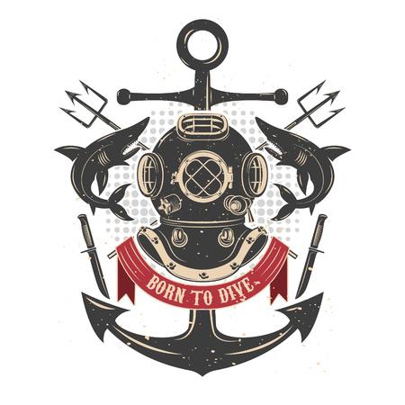 Vintage duiken helm met haaien en drietanden. Duikers club emblem template. Design element voor, etiket, embleem, teken, badge. Vector illustratie. Stock Illustratie