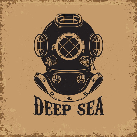 Deep Sea. Old style diver helmet on grunge background. Design element for t-shirt print, poster, emblem. Vector illustration.