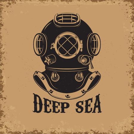 Diepe zee. Oude stijl duiker helm op grunge achtergrond. Design element voor t-shirt print, poster, embleem. Vector illustratie. Stockfoto - 59976791