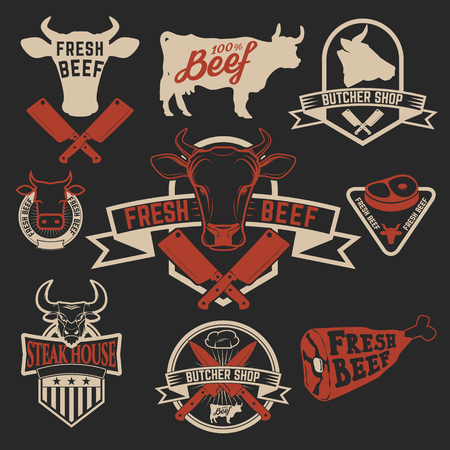 Fresh beef labels. Butchery store labels. Cow heads icons and butcher tools. Design elements for labels, badges, emblems, signs. Vector illustration.