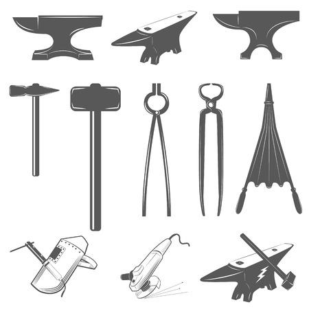 metalwork: Set of anvils,hammers and design elements for blacksmith labels and badges. Illustration