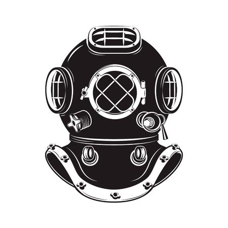 Casco viejo buzo estilo aislado en el fondo blanco. Elemento de diseño para camiseta de la impresión, cartel, emblema. Ilustración del vector.