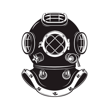 plunge: Old style diver helmet isolated on white background. Design element for t-shirt print, poster, emblem. Vector illustration.