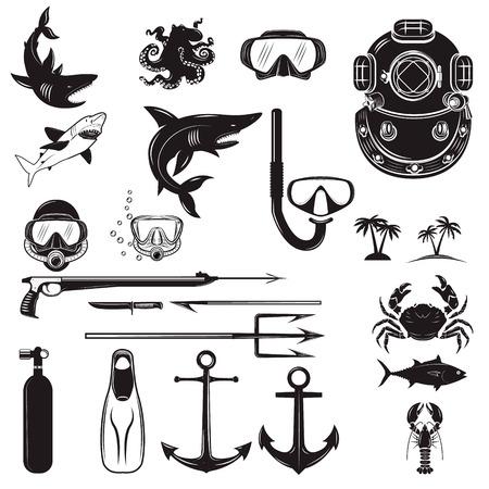 deep sea diver: Diver design elements. Diver weapon, diver helmet, equipment for diving.  Design element for poster, flyer, emblem, , sign.  Vector illustration.