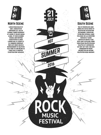 Music festival poster template. Guitar silhouette isolated on white background.  Design elements for  flyer, poster, emblem, sign. Vector illustration. Ilustrace