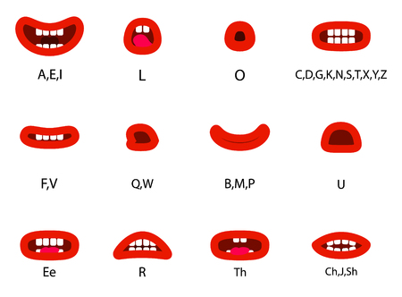 Set of Character Lip Sync. Set for character speaks animation.  Vector illustration. Vectores