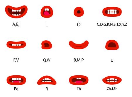 Set of Character Lip Sync. Set for character speaks animation.  Vector illustration. Vettoriali