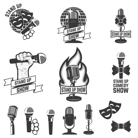 comedy show: Stand up comedy show labels. Set of old style microphones. Design elements for logo, albel, emblem, sign. Vector illustration. Illustration