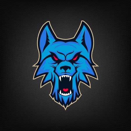 Template of  with angry wolf head. Emblem for sport team. Mascot. Design elements , albel, emblem, sign. Vector illustration. Vettoriali