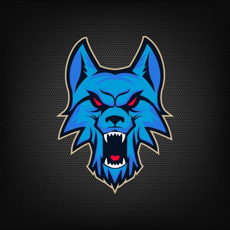 Template of  with angry wolf head. Emblem for sport team. Mascot. Design elements , albel, emblem, sign. Vector illustration. Illustration
