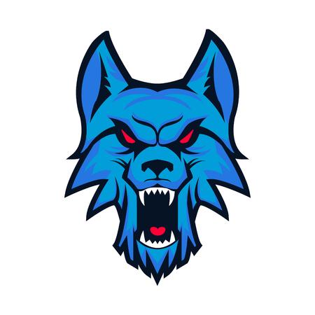 Modello con testa di lupo arrabbiato isolato su sfondo bianco. Emblema per la squadra sportiva. Mascotte. Elementi di design, Albel, emblema, segno. Illustrazione vettoriale. Vettoriali