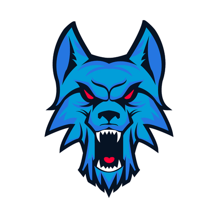Template with angry wolf head isolated on white background. Emblem for sport team. Mascot. Design elements , albel, emblem, sign. Vector illustration.