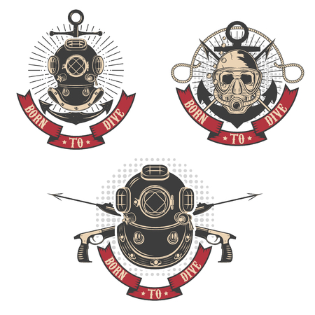 plunge: Born to dive. Set of diving club labels templates. Vintage diver helmets. Design elements , label, emblem, sign. Illustration