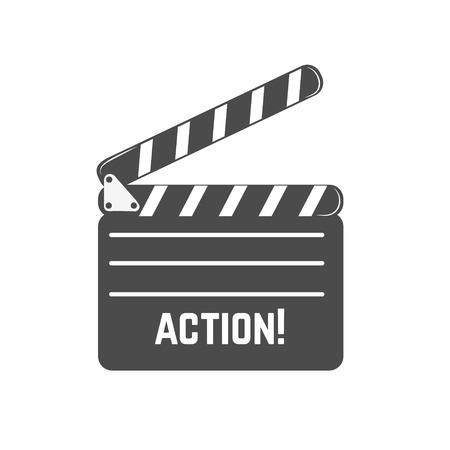 Clapperboard icoon in vector. Design elementen, etiket, embleem, teken. Stock Illustratie